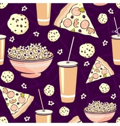 Purple pink pajama party movie night food vector