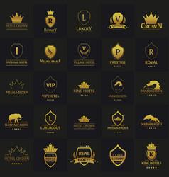 set of luxury hotel logos and emblems logo vector image