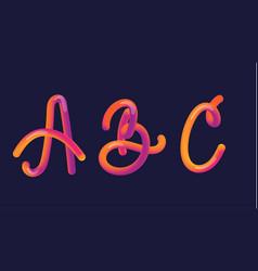 3d gradient lettering font set with letter - a b vector