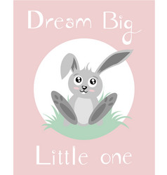 A baby bunny with baby pink background vector