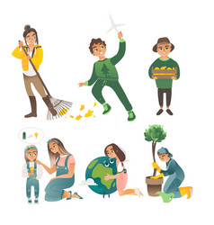 a set children involved in ecology vector image