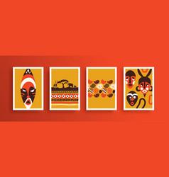 African art face mask poster set vector