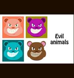 Assembly flat icons on theme evil animals vector