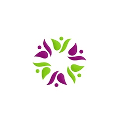 Beauty people circle flower color logo vector