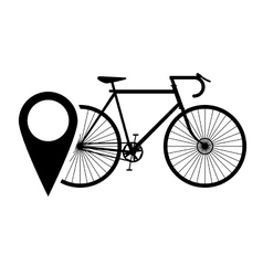 Bike or bicycle and gps map pointer icon vector