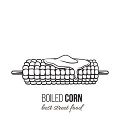 boiled corn on stick vector image