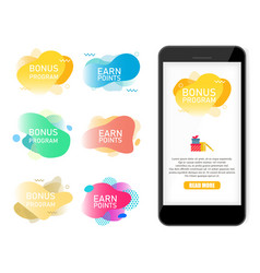 Bonus program earn points label banner set vector