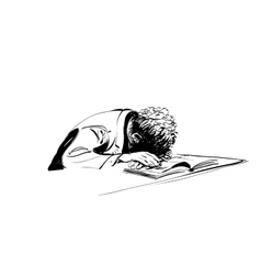 boy asleep on a textbook education school vector image