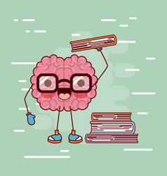 brain cartoon with glasses and books in background vector image