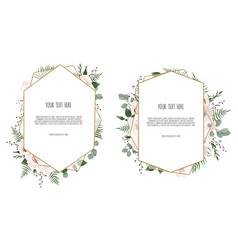 Card with leaves and geometrical frame floral vector
