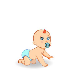 Cartoon crawling baby boy in blue diaper with vector