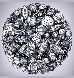cartoon doodles space vector image