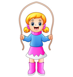 cartoon girl playing jumpin vector image