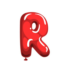 cartoon letter r made of red air balloon original vector image