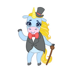 Cartoon light blue unicorn in elegant suit with vector