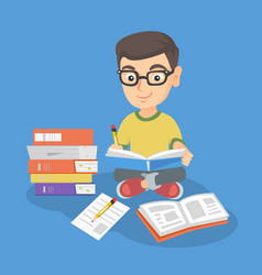 Caucasian kid sitting on floor and reading a book vector