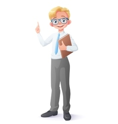 clever young school boy with eyeglasses vector image