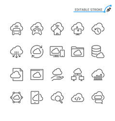 cloud computing line icons editable stroke vector image