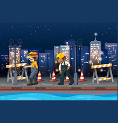 constuction working at night vector image