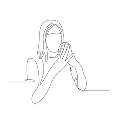 Continuous one line woman in a confident pose vector