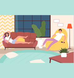 couple relaxed home evening woman man recreation vector image