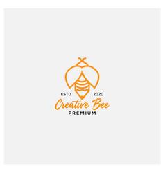 Creative pen and bee line logo design vector