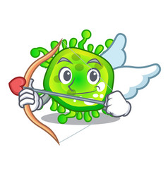 cupid character microbe bacterium on the palm vector image