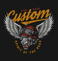 Custom motorcycle colorful label vector