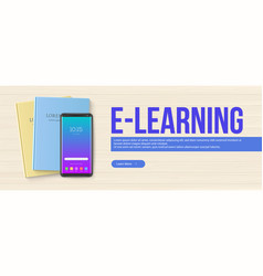 e-learning banner with smartphone and books vector image