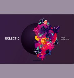 eclectic futuristic background with 3d object vector image