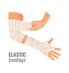 Elastic medical bandage wrapped around hurt human vector