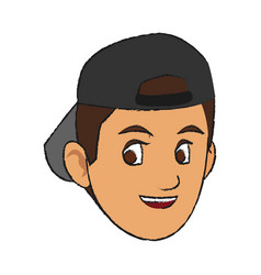 Face of handsome young man with backwards baseball vector