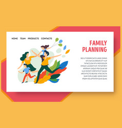 Family planning website design template with happy vector