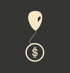 Flat in black and white coin on balloon vector