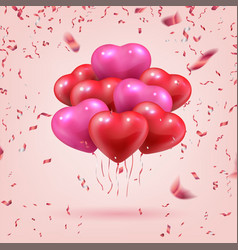 flying heart shaped balloons realistic 3d bouquet vector image