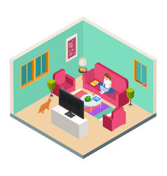 freelance remote work isometric concept vector image