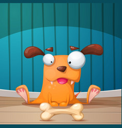 Funny cute crazy dog vector