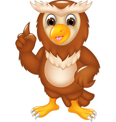 funny owl cartoon posing with smile and pointing vector image