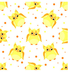 Funny yellow-colored owls with scew eyes vector