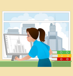 Girl architect in the workplace vector