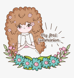 Girl communuon with dress and flowers plants vector