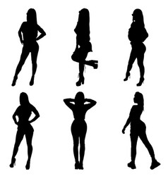 Girl silhouette posing six woman figure vector