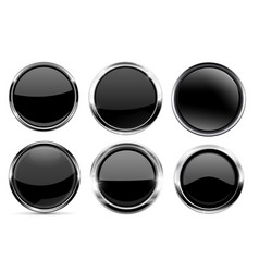 glass black buttons collection round 3d icons vector image