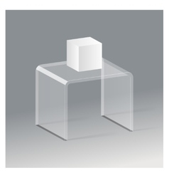 Glass rack shelf podium 3d isometric realistic vector image