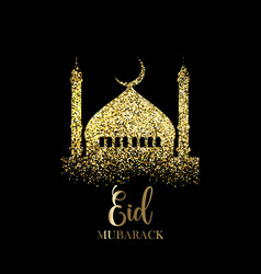 Glitter eid mubarak background vector
