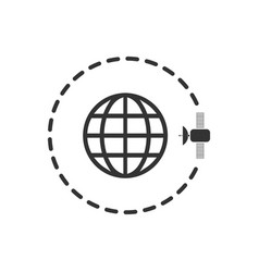 globe symbol with satellites icon flat vector image