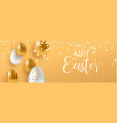 Gold easter eggs and spring flower web banner vector