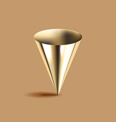 golden cone 3d geometric shape brown background vector image