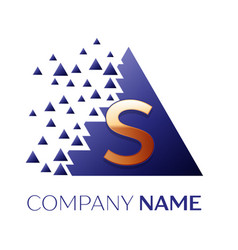 golden letter s logo symbol in blue pixel triangle vector image