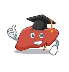 Graduation liver character cartoon style vector